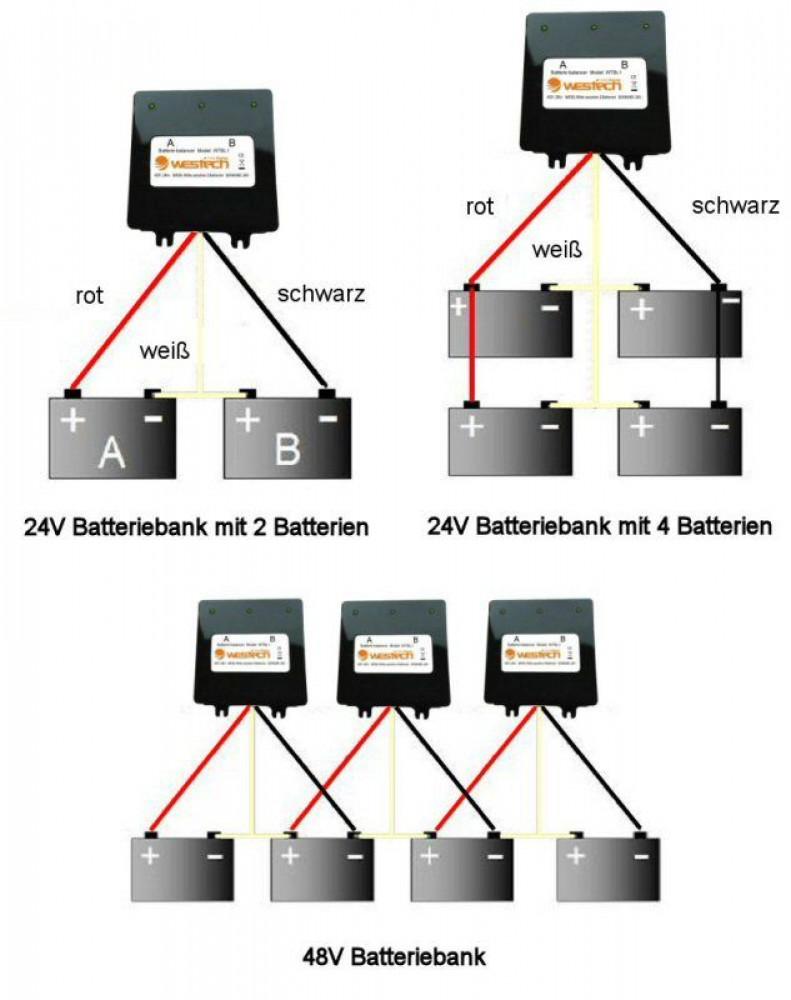batterie balancer ladungsausgleicher 12v akkus in 24v 48v. Black Bedroom Furniture Sets. Home Design Ideas